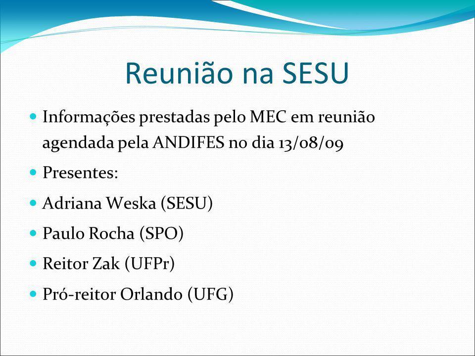 Reunião na SESU Informações prestadas pelo MEC em reunião agendada pela ANDIFES no dia 13/08/09 Presentes: Adriana Weska (SESU) Paulo Rocha (SPO) Reit