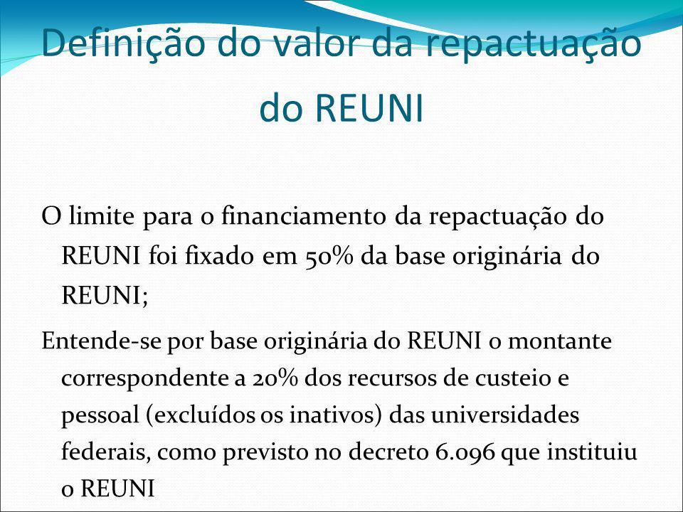 Definição do valor da repactuação do REUNI O limite para o financiamento da repactuação do REUNI foi fixado em 50% da base originária do REUNI; Entende-se por base originária do REUNI o montante correspondente a 20% dos recursos de custeio e pessoal (excluídos os inativos) das universidades federais, como previsto no decreto 6.096 que instituiu o REUNI