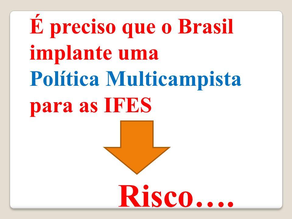 É preciso que o Brasil implante uma Política Multicampista para as IFES Risco….