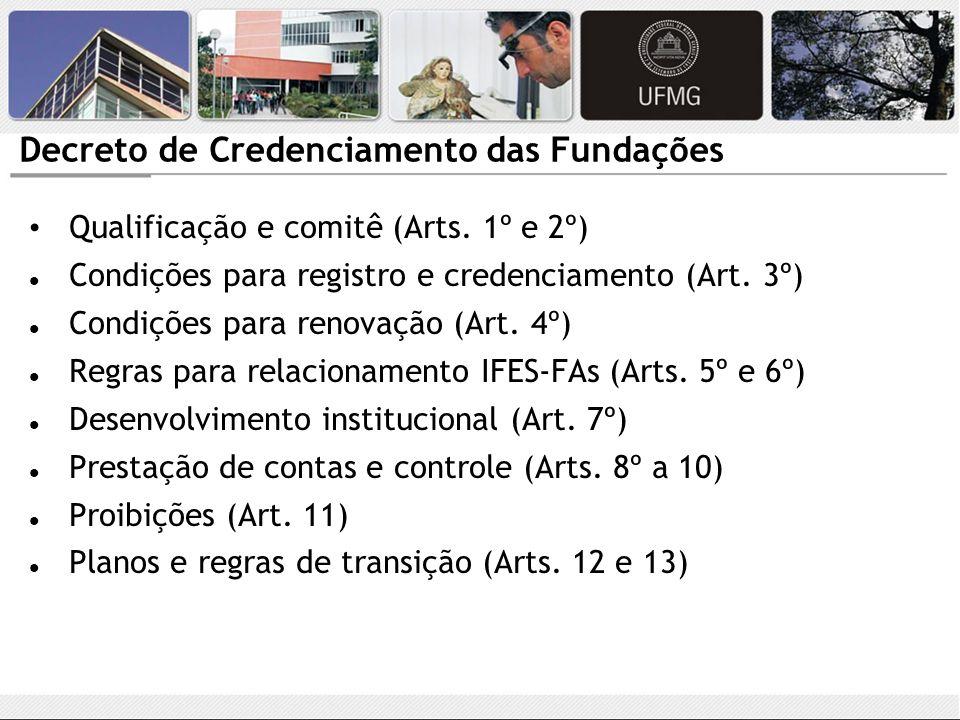Decreto de Credenciamento das Fundações Qualificação e comitê (Arts. 1º e 2º) Condições para registro e credenciamento (Art. 3º) Condições para renova