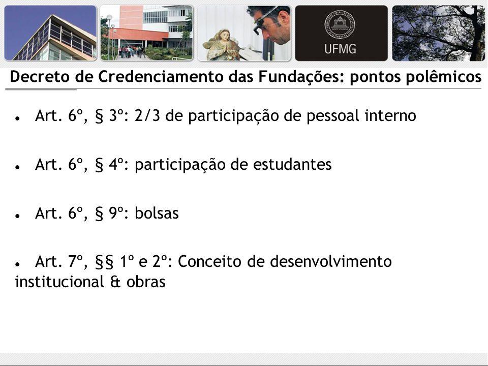 Decreto de Credenciamento das Fundações: pontos polêmicos Art. 6º, § 3º: 2/3 de participação de pessoal interno Art. 6º, § 4º: participação de estudan