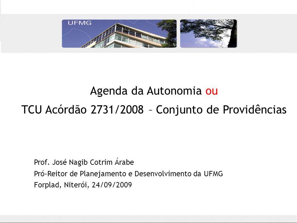 Histórico – TCU Acórdão 2731/2008 16 universidades e suas fundações: –UFPR, UFMG, UFAC, UFPE, UFG, UFOP, UFRN, UFAM, UFF, UFRRJ, UFC, UFPI, UFSC, UFRR, UFBA, UFERSA –Um acórdão para cada universidade auditada [9.1] interpretação de recursos públicos [9.2] 44 determinações ao MEC (prazo de seis meses) [9.4] MCT/Finep [9.6] MEC: alterar Decreto 5.205/2004 [9.7] ameaça de punição aos dirigentes