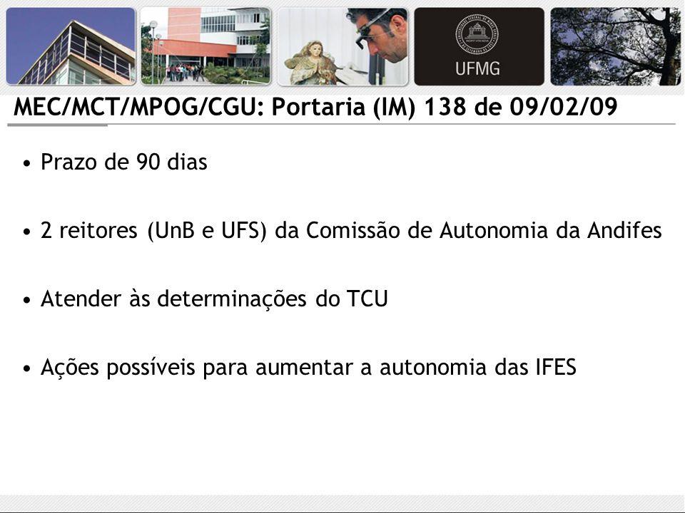 MEC/MCT/MPOG/CGU: Portaria (IM) 138 de 09/02/09 Prazo de 90 dias 2 reitores (UnB e UFS) da Comissão de Autonomia da Andifes Atender às determinações d