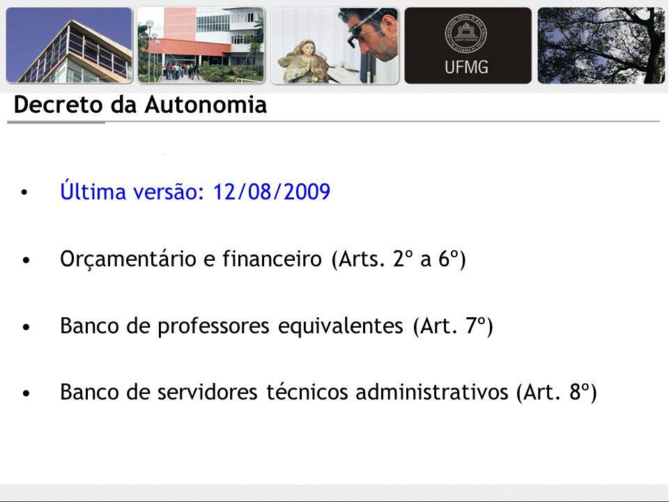 Decreto da Autonomia Última versão: 12/08/2009 Orçamentário e financeiro (Arts. 2º a 6º) Banco de professores equivalentes (Art. 7º) Banco de servidor