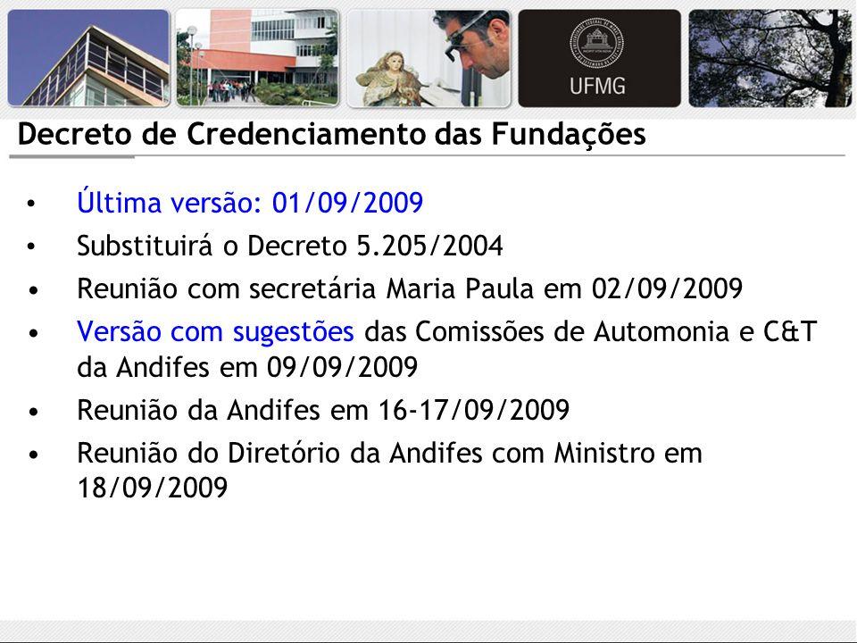 Decreto de Credenciamento das Fundações Última versão: 01/09/2009 Substituirá o Decreto 5.205/2004 Reunião com secretária Maria Paula em 02/09/2009 Ve