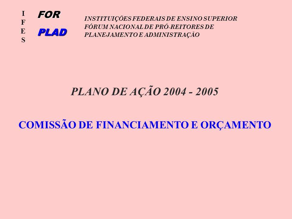 IFESIFES INSTITUIÇÕES FEDERAIS DE ENSINO SUPERIOR FÓRUM NACIONAL DE PRÓ-REITORES DE PLANEJAMENTO E ADMINISTRAÇÃOFORPLAD COMISSÃO DE FINANCIAMENTO E ORÇAMENTO PLANO DE AÇÃO 2004 - 2005