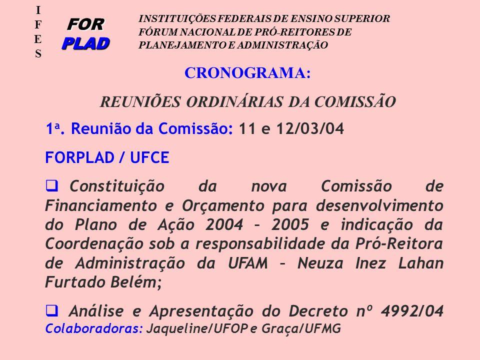 IFESIFES FOR PLAD INSTITUIÇÕES FEDERAIS DE ENSINO SUPERIOR FÓRUM NACIONAL DE PRÓ-REITORES DE PLANEJAMENTO E ADMINISTRAÇÃO IFESIFES FOR PLAD INSTITUIÇÕES FEDERAIS DE ENSINO SUPERIOR FÓRUM NACIONAL DE PRÓ-REITORES DE PLANEJAMENTO E ADMINISTRAÇÃO CRONOGRAMA: REUNIÕES ORDINÁRIAS DA COMISSÃO 1 a.