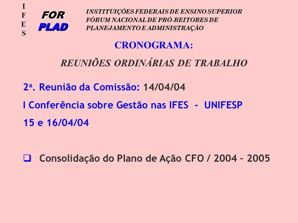 IFESIFES FOR PLAD INSTITUIÇÕES FEDERAIS DE ENSINO SUPERIOR FÓRUM NACIONAL DE PRÓ-REITORES DE PLANEJAMENTO E ADMINISTRAÇÃO IFESIFES FOR PLAD INSTITUIÇÕES FEDERAIS DE ENSINO SUPERIOR FÓRUM NACIONAL DE PRÓ-REITORES DE PLANEJAMENTO E ADMINISTRAÇÃO CRONOGRAMA: REUNIÕES ORDINÁRIAS DE TRABALHO 2 a.