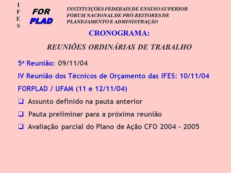 IFESIFES FOR PLAD INSTITUIÇÕES FEDERAIS DE ENSINO SUPERIOR FÓRUM NACIONAL DE PRÓ-REITORES DE PLANEJAMENTO E ADMINISTRAÇÃO IFESIFES FOR PLAD INSTITUIÇÕES FEDERAIS DE ENSINO SUPERIOR FÓRUM NACIONAL DE PRÓ-REITORES DE PLANEJAMENTO E ADMINISTRAÇÃO CRONOGRAMA: REUNIÕES ORDINÁRIAS DE TRABALHO 5 a Reunião: 09/11/04 IV Reunião dos Técnicos de Orçamento das IFES: 10/11/04 FORPLAD / UFAM (11 e 12/11/04) Assunto definido na pauta anterior Pauta preliminar para a próxima reunião Avaliação parcial do Plano de Ação CFO 2004 – 2005