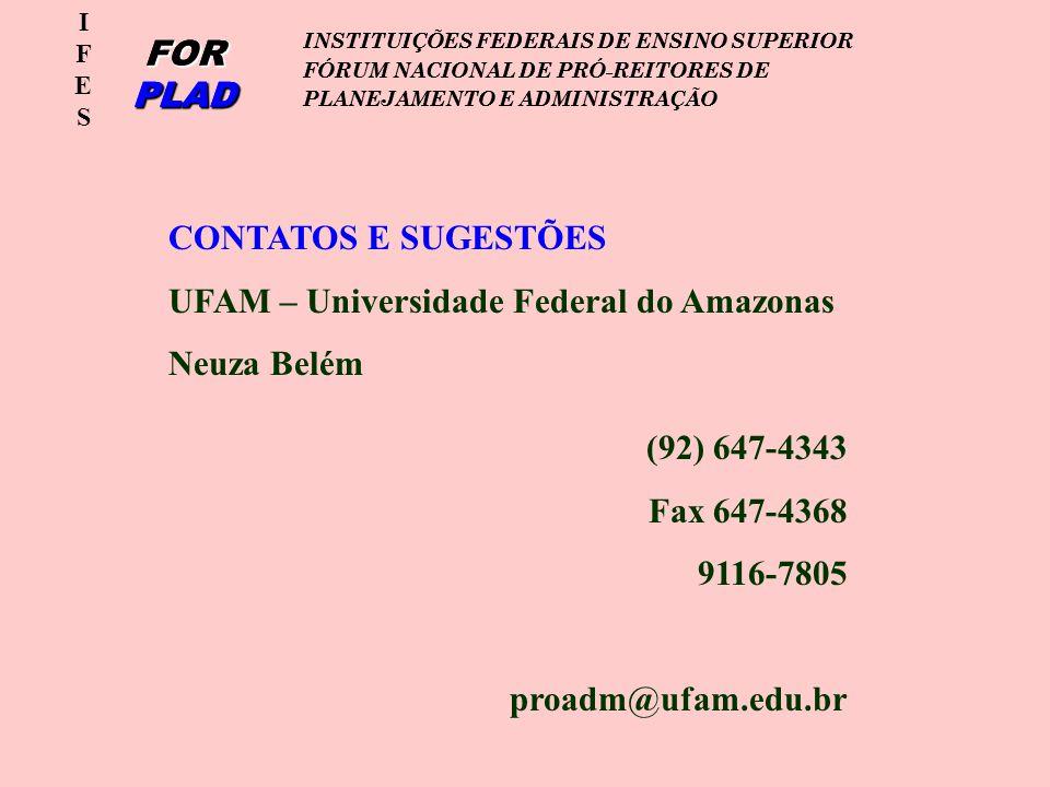 IFESIFES FOR PLAD INSTITUIÇÕES FEDERAIS DE ENSINO SUPERIOR FÓRUM NACIONAL DE PRÓ-REITORES DE PLANEJAMENTO E ADMINISTRAÇÃO IFESIFES FOR PLAD INSTITUIÇÕES FEDERAIS DE ENSINO SUPERIOR FÓRUM NACIONAL DE PRÓ-REITORES DE PLANEJAMENTO E ADMINISTRAÇÃO CONTATOS E SUGESTÕES UFAM – Universidade Federal do Amazonas Neuza Belém (92) 647-4343 Fax 647-4368 9116-7805 proadm@ufam.edu.br