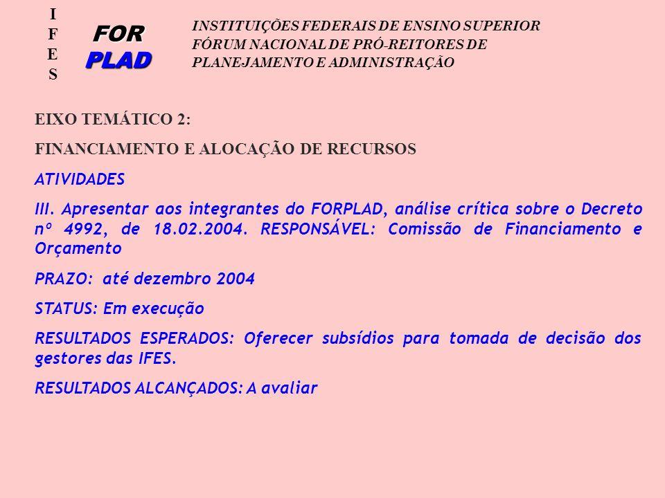 IFESIFES FOR PLAD INSTITUIÇÕES FEDERAIS DE ENSINO SUPERIOR FÓRUM NACIONAL DE PRÓ-REITORES DE PLANEJAMENTO E ADMINISTRAÇÃO EIXO TEMÁTICO 2: FINANCIAMENTO E ALOCAÇÃO DE RECURSOS ATIVIDADES III.
