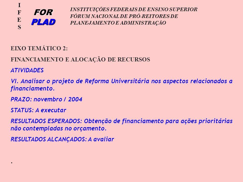 IFESIFES FOR PLAD INSTITUIÇÕES FEDERAIS DE ENSINO SUPERIOR FÓRUM NACIONAL DE PRÓ-REITORES DE PLANEJAMENTO E ADMINISTRAÇÃO EIXO TEMÁTICO 2: FINANCIAMENTO E ALOCAÇÃO DE RECURSOS ATIVIDADES VI.