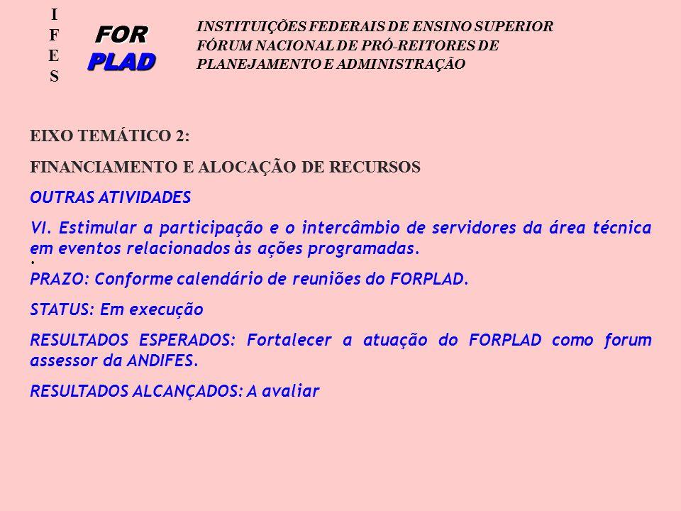 IFESIFES FOR PLAD INSTITUIÇÕES FEDERAIS DE ENSINO SUPERIOR FÓRUM NACIONAL DE PRÓ-REITORES DE PLANEJAMENTO E ADMINISTRAÇÃO EIXO TEMÁTICO 2: FINANCIAMENTO E ALOCAÇÃO DE RECURSOS OUTRAS ATIVIDADES.