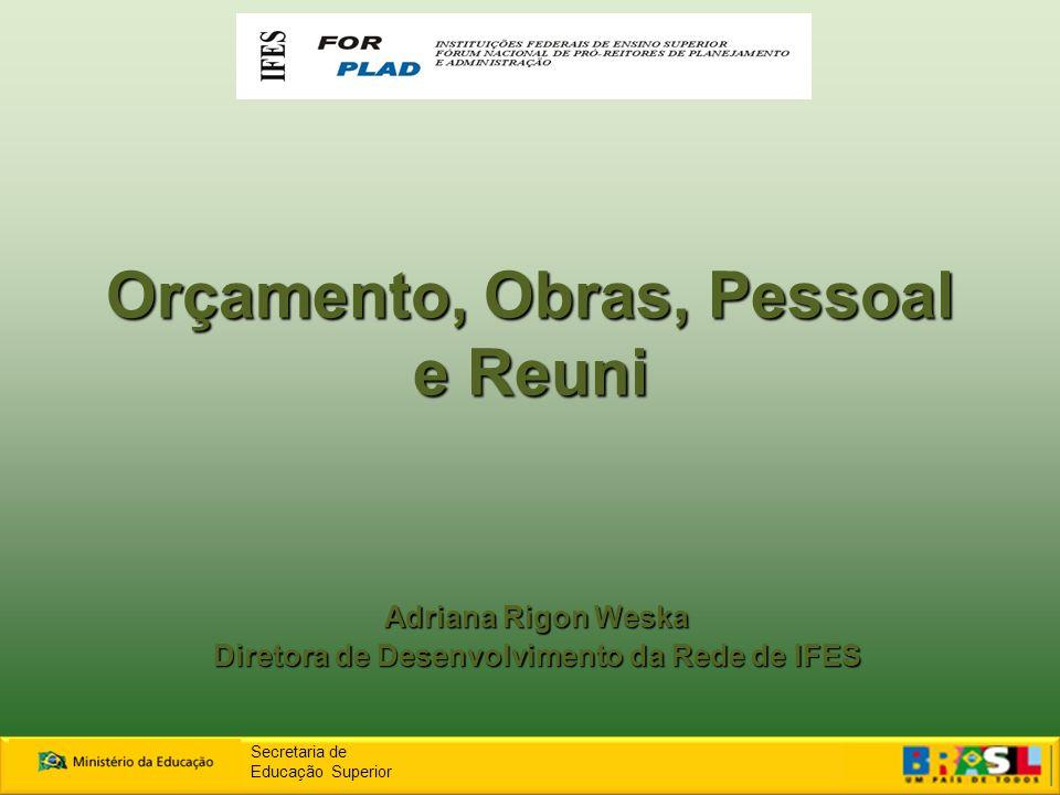 Orçamento, Obras, Pessoal e Reuni Adriana Rigon Weska Diretora de Desenvolvimento da Rede de IFES Secretaria de Educação Superior
