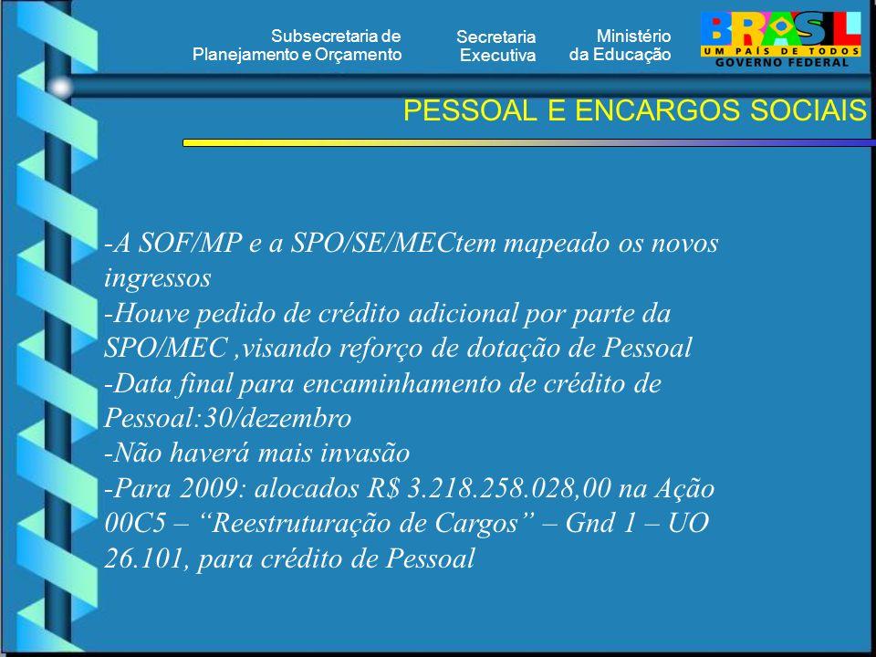Ministério da Educação Secretaria Executiva Subsecretaria de Planejamento e Orçamento PESSOAL E ENCARGOS SOCIAIS -A SOF/MP e a SPO/SE/MECtem mapeado os novos ingressos -Houve pedido de crédito adicional por parte da SPO/MEC,visando reforço de dotação de Pessoal -Data final para encaminhamento de crédito de Pessoal:30/dezembro -Não haverá mais invasão -Para 2009: alocados R$ 3.218.258.028,00 na Ação 00C5 – Reestruturação de Cargos – Gnd 1 – UO 26.101, para crédito de Pessoal