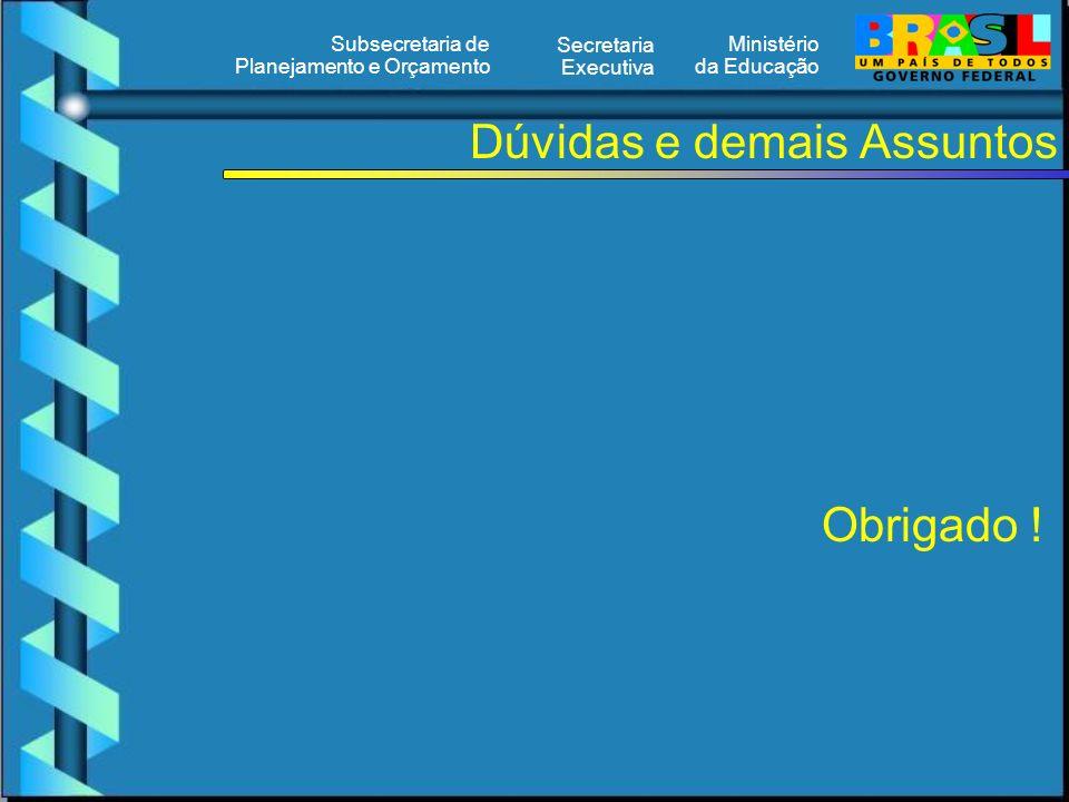 Ministério da Educação Secretaria Executiva Subsecretaria de Planejamento e Orçamento Dúvidas e demais Assuntos Obrigado !