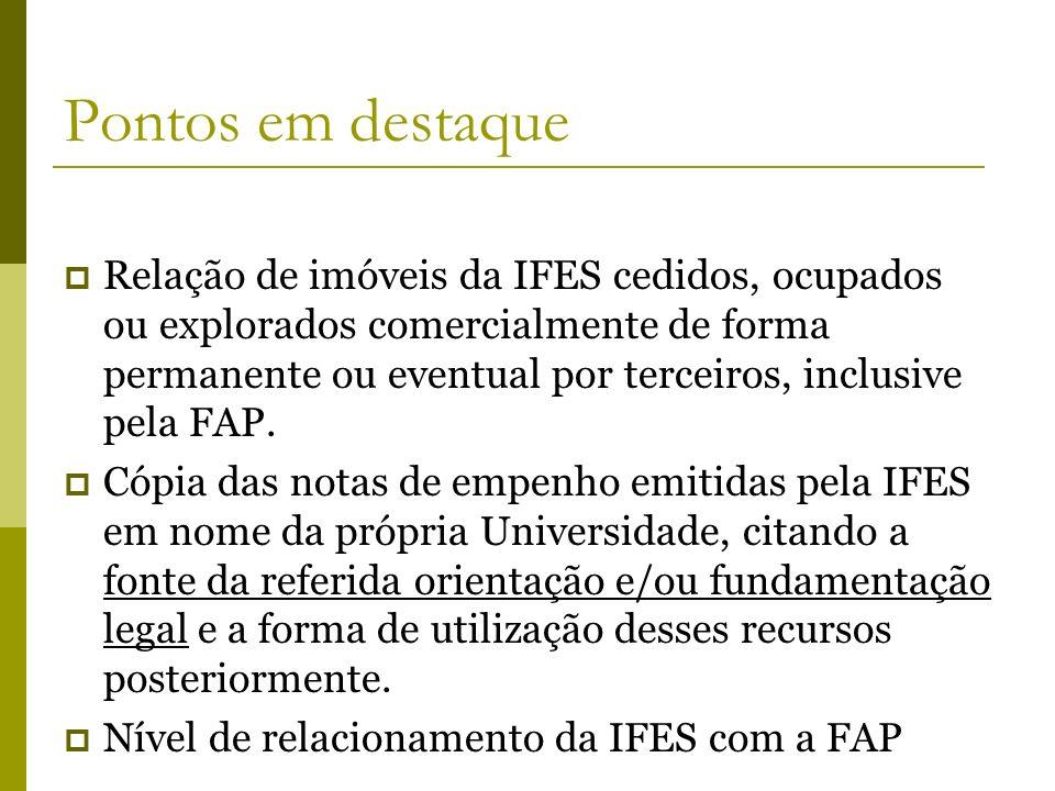 Pontos em destaque Relação de imóveis da IFES cedidos, ocupados ou explorados comercialmente de forma permanente ou eventual por terceiros, inclusive