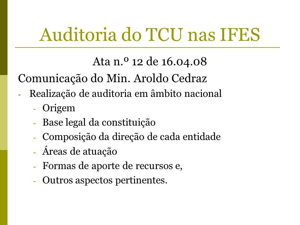 Auditoria do TCU nas IFES Ata n.º 12 de 16.04.08 Comunicação do Min. Aroldo Cedraz - Realização de auditoria em âmbito nacional - Origem - Base legal