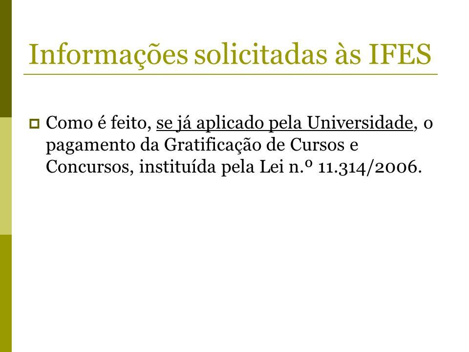 Informações solicitadas às IFES Como é feito, se já aplicado pela Universidade, o pagamento da Gratificação de Cursos e Concursos, instituída pela Lei