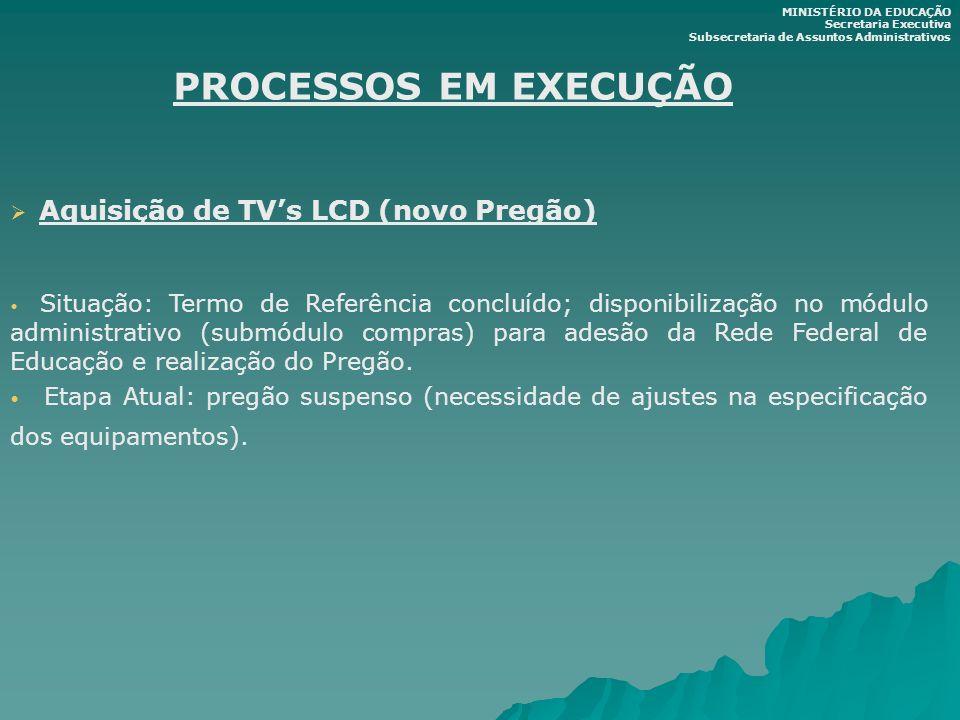 PROCESSOS EM EXECUÇÃO Aquisição de TVs LCD (novo Pregão) Situação: Termo de Referência concluído; disponibilização no módulo administrativo (submódulo