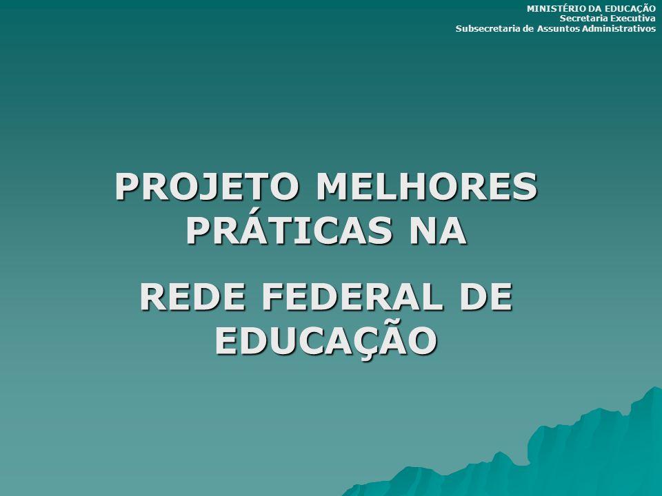 PROJETO MELHORES PRÁTICAS NA REDE FEDERAL DE EDUCAÇÃO MINISTÉRIO DA EDUCAÇÃO Secretaria Executiva Subsecretaria de Assuntos Administrativos