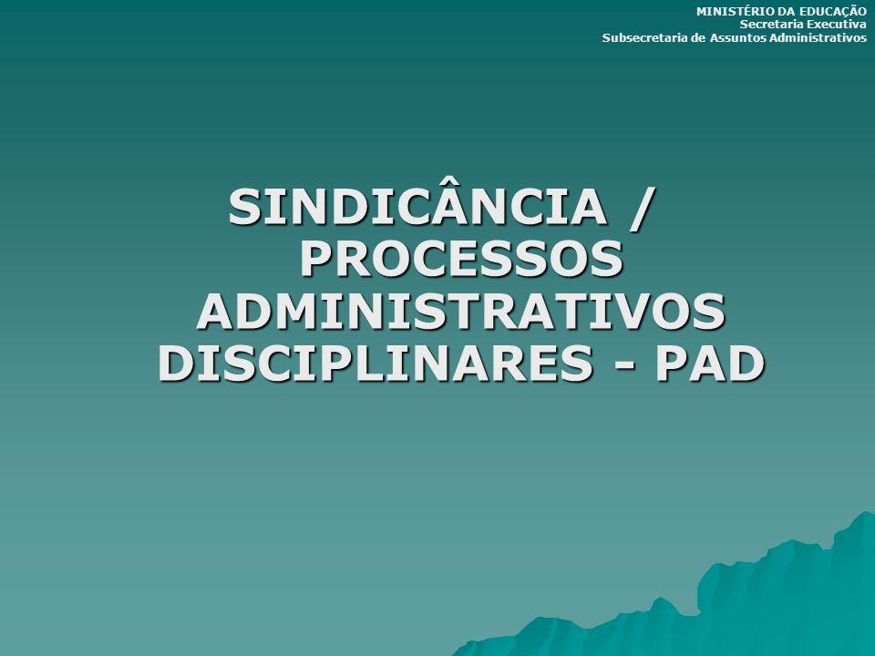 SINDICÂNCIA / PROCESSOS ADMINISTRATIVOS DISCIPLINARES - PAD MINISTÉRIO DA EDUCAÇÃO Secretaria Executiva Subsecretaria de Assuntos Administrativos