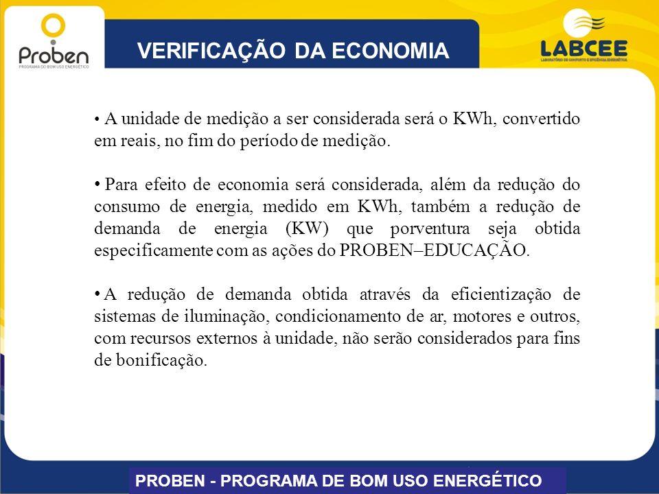 VERIFICAÇÃO DA ECONOMIA PROBEN - PROGRAMA DE BOM USO ENERGÉTICO A unidade de medição a ser considerada será o KWh, convertido em reais, no fim do perí