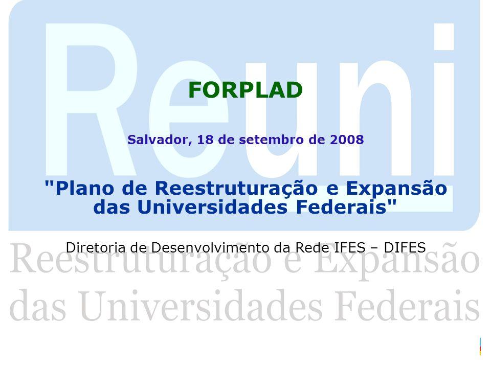 EXPANSÃO COM REESTRUTURAÇÃO: OPORTUNIDADE DE INOVAÇÃO E DE EXPERIMENTAÇÃO Expandir a quantidade: novas vagas, novos cursos (inclusão) Aprimorar a qualidade: (reestruturação e inovação da graduação e pós) Oportunizar a: Valorização do papel institucional universidade como vetor de desenvolvimento includente; Consideração/valorização particularidades locais/regionais (o local como universal - relações local- global); Contradição: respostas novas e velhas demandas e dinâmicas: sociedade do conhecimento X sociedade do subdesenvolvimento.
