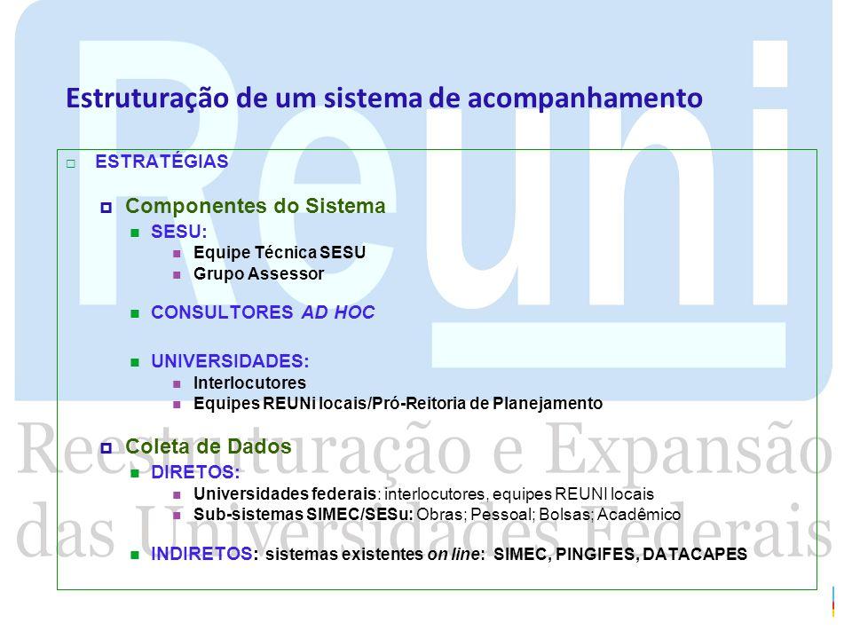 Estruturação de um sistema de acompanhamento ESTRATÉGIAS Componentes do Sistema SESU: Equipe Técnica SESU Grupo Assessor CONSULTORES AD HOC UNIVERSIDA