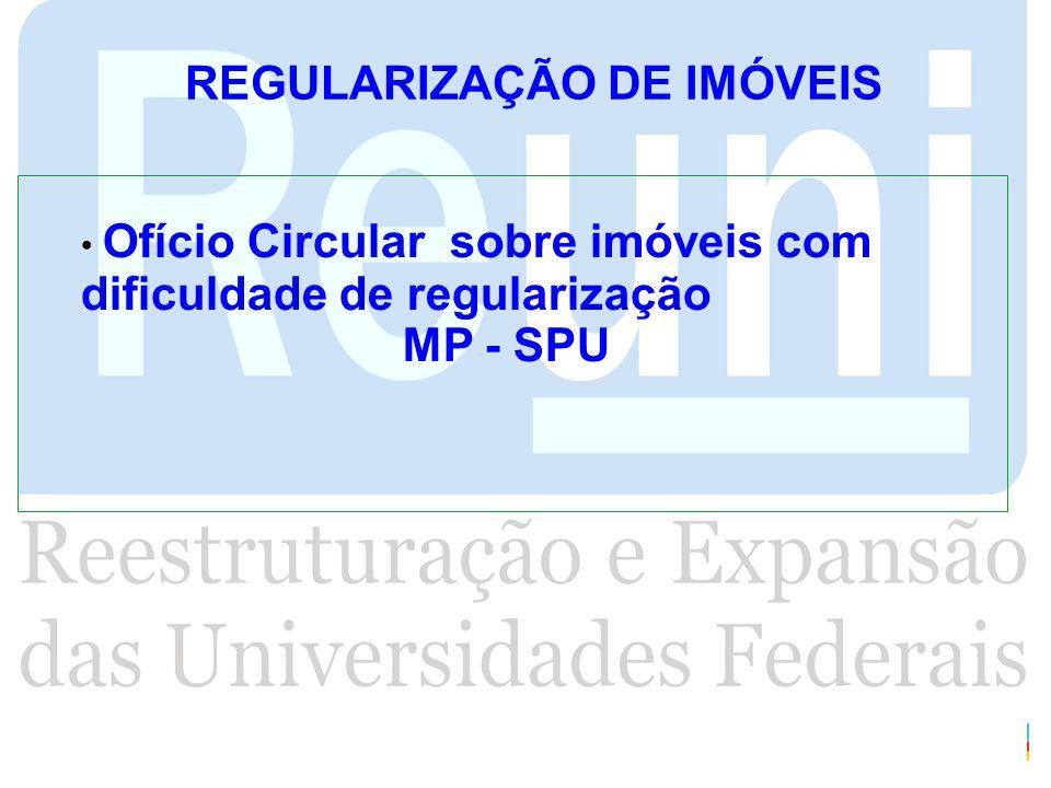 REGULARIZAÇÃO DE IMÓVEIS Ofício Circular sobre imóveis com dificuldade de regularização MP - SPU