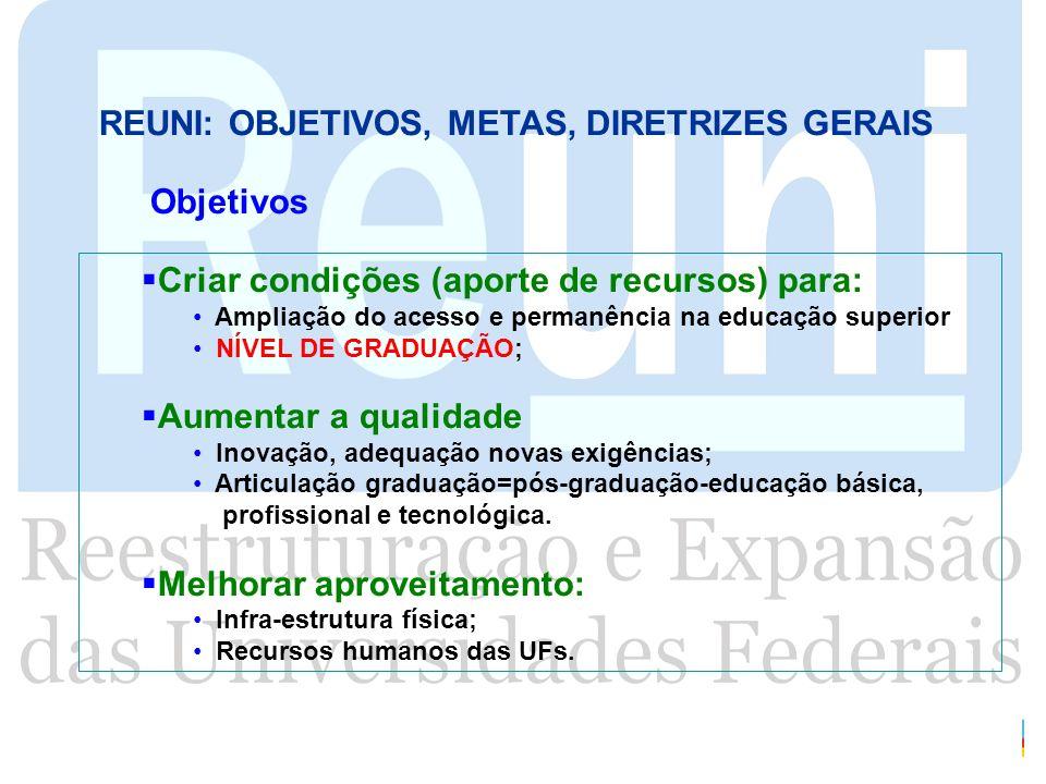 REUNI: OBJETIVOS, METAS, DIRETRIZES GERAIS Criar condições (aporte de recursos) para: Ampliação do acesso e permanência na educação superior NÍVEL DE