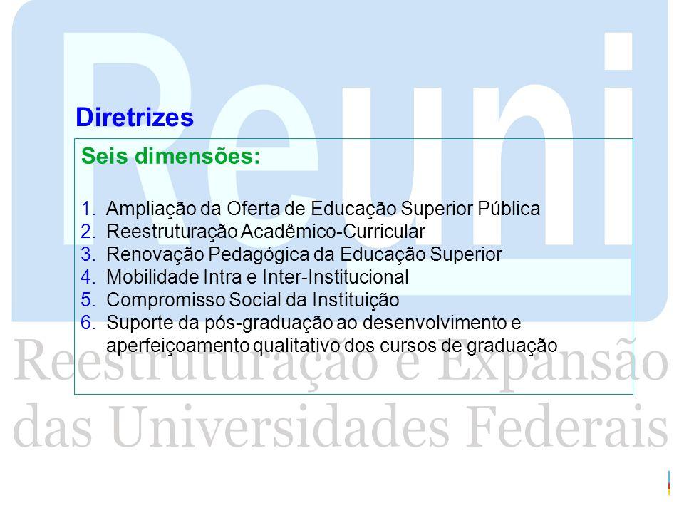 Diretrizes Seis dimensões: 1.Ampliação da Oferta de Educação Superior Pública 2.Reestruturação Acadêmico-Curricular 3.Renovação Pedagógica da Educação