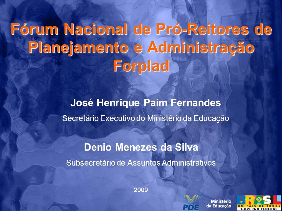 Fórum Nacional de Pró-Reitores de Planejamento e Administração Forplad Denio Menezes da Silva Subsecretário de Assuntos Administrativos 2009 José Henr