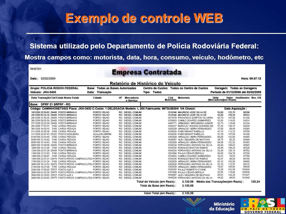 Exemplo de controle WEB Sistema utilizado pelo Departamento de Polícia Rodoviária Federal: Mostra campos como: motorista, data, hora, consumo, veículo