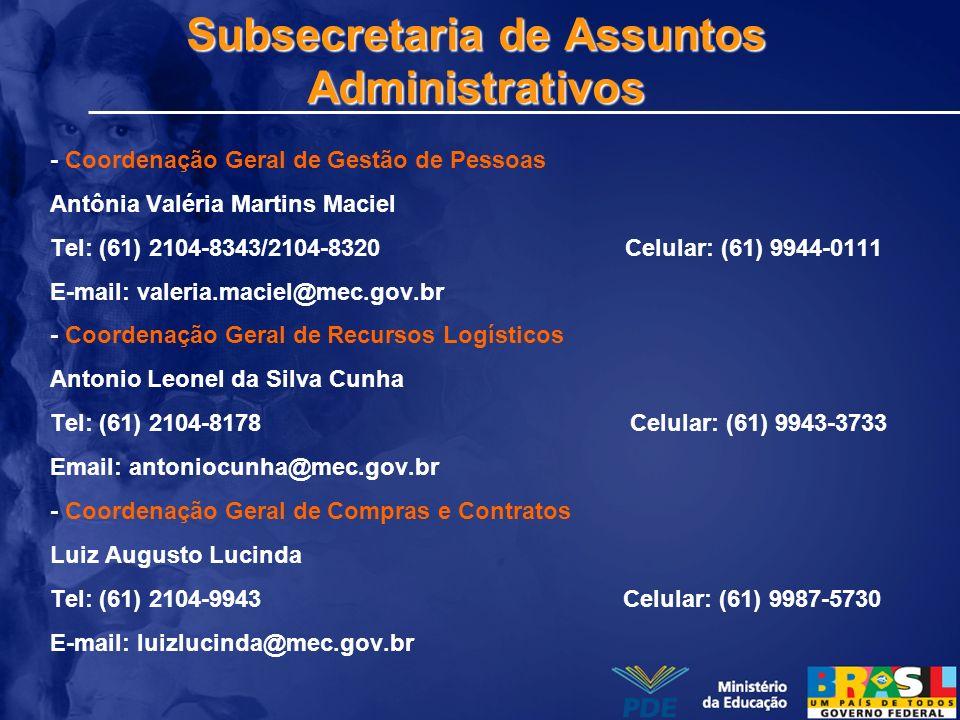Subsecretaria de Assuntos Administrativos - Coordenação Geral de Gestão de Pessoas Antônia Valéria Martins Maciel Tel: (61) 2104-8343/2104-8320 Celula