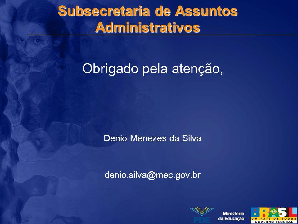 Subsecretaria de Assuntos Administrativos Obrigado pela atenção, Denio Menezes da Silva denio.silva@mec.gov.br