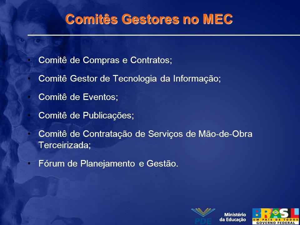 Comitês Gestores no MEC Comitê de Compras e Contratos; Comitê Gestor de Tecnologia da Informação; Comitê de Eventos; Comitê de Publicações; Comitê de