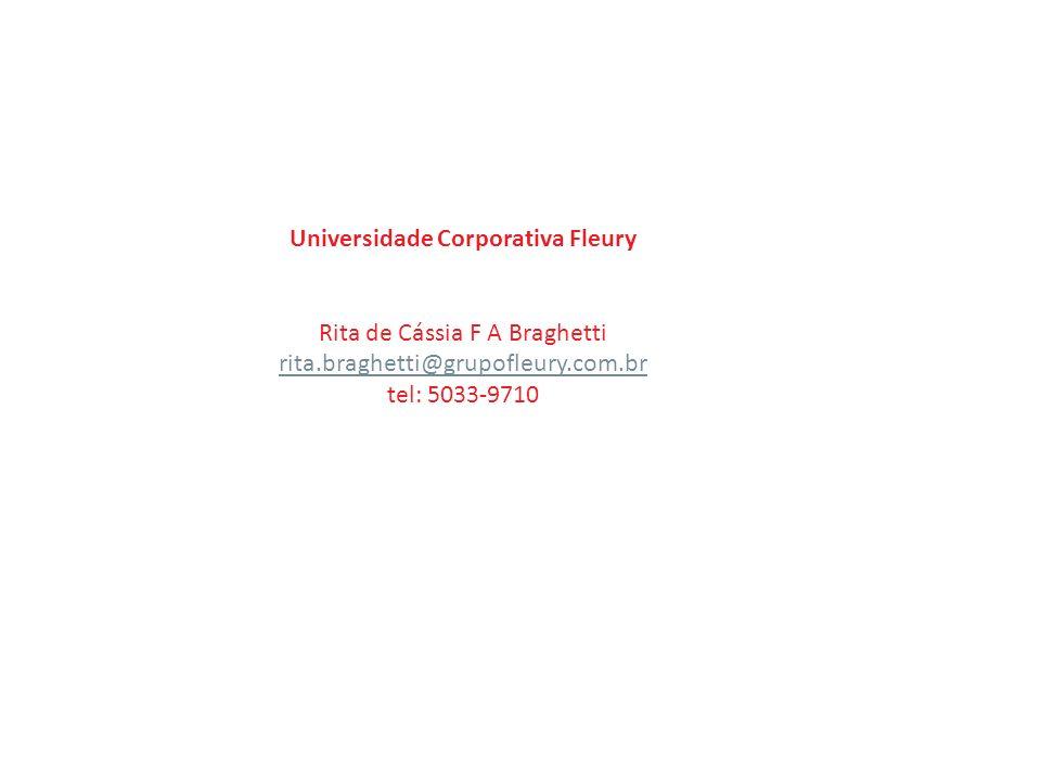 Universidade Corporativa Fleury Rita de Cássia F A Braghetti rita.braghetti@grupofleury.com.br tel: 5033-9710
