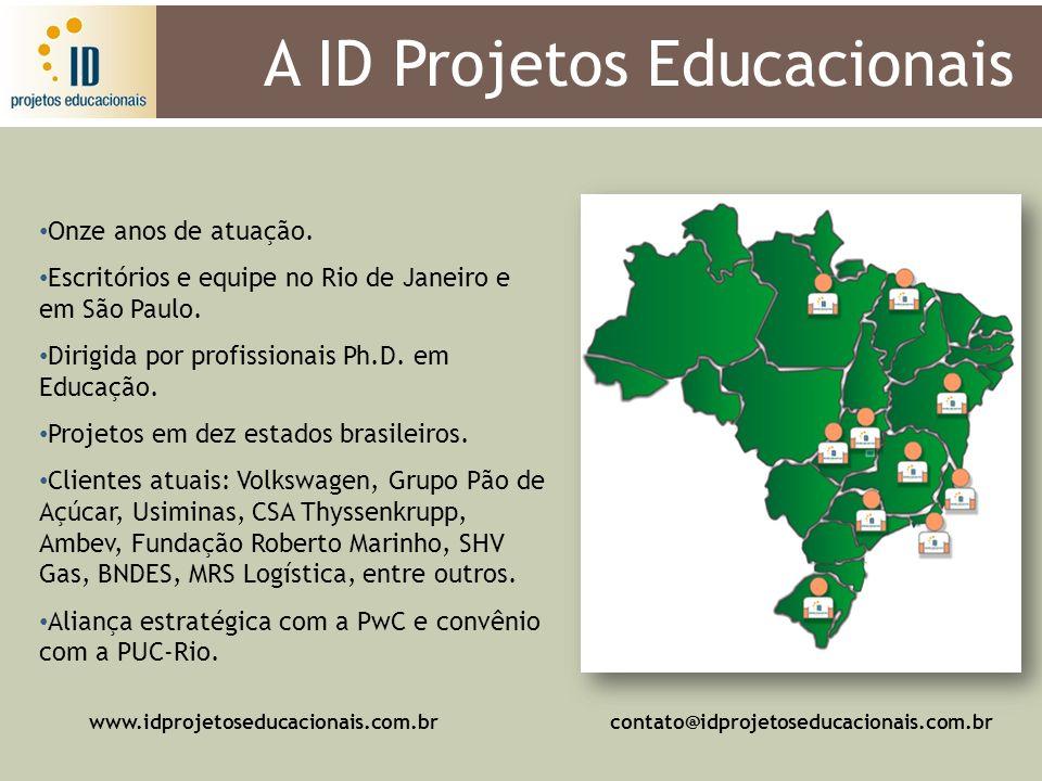A ID Projetos Educacionais Onze anos de atuação. Escritórios e equipe no Rio de Janeiro e em São Paulo. Dirigida por profissionais Ph.D. em Educação.