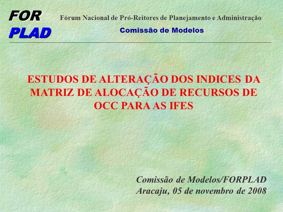 FOR PLAD Fórum Nacional de Pró-Reitores de Planejamento e Administração Comissão de Modelos UBC UNIDADE BÁSICA DE CUSTEIO