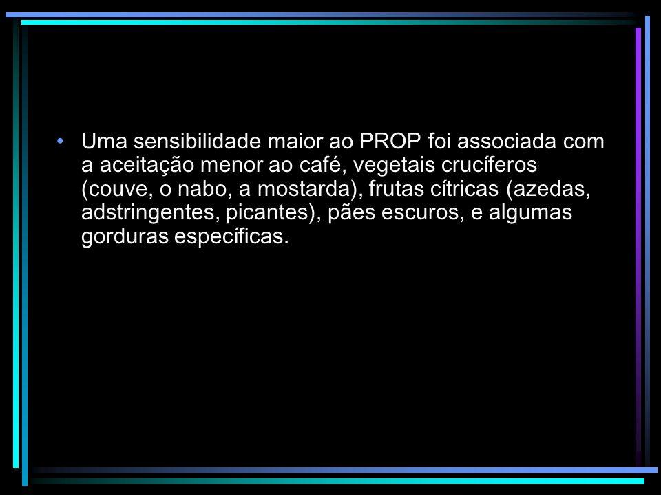 Uma sensibilidade maior ao PROP foi associada com a aceitação menor ao café, vegetais crucíferos (couve, o nabo, a mostarda), frutas cítricas (azedas,