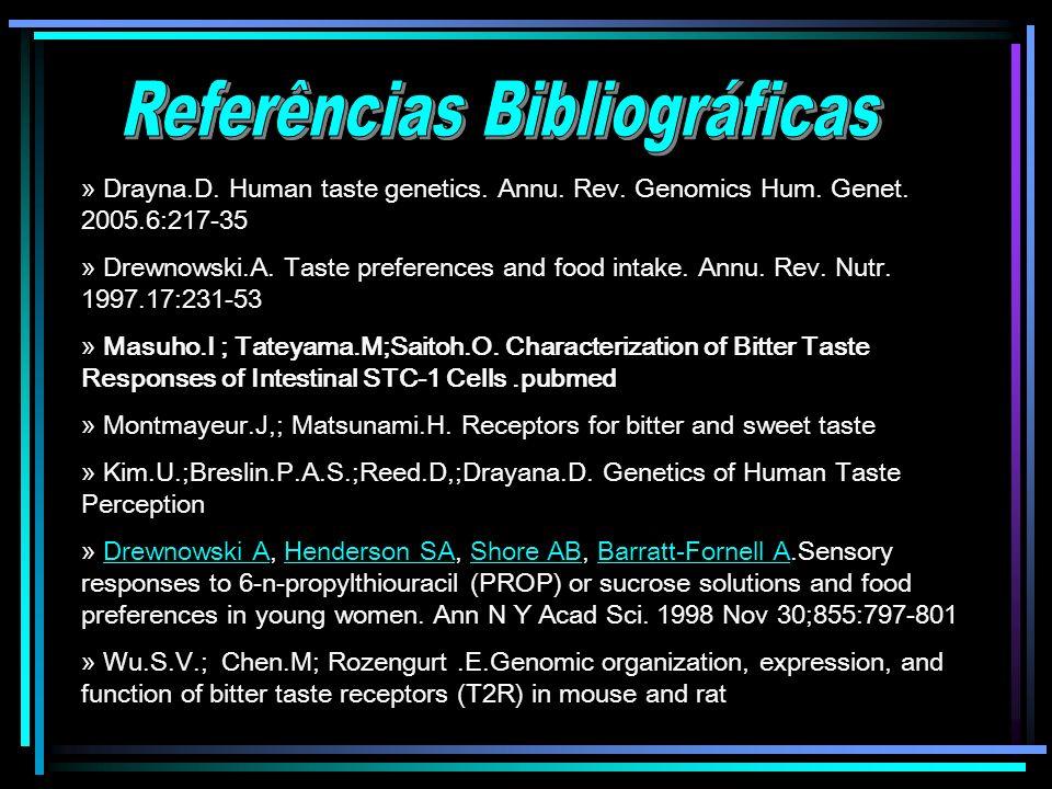 » Drayna.D. Human taste genetics. Annu. Rev. Genomics Hum. Genet. 2005.6:217-35 » Drewnowski.A. Taste preferences and food intake. Annu. Rev. Nutr. 19