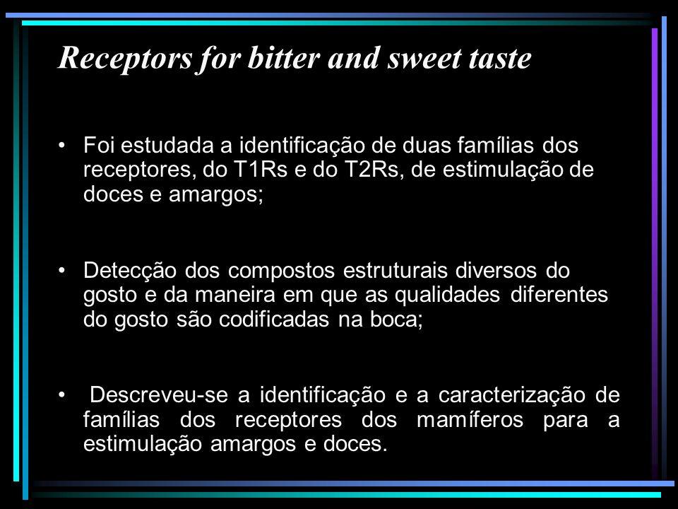 Receptors for bitter and sweet taste Foi estudada a identificação de duas famílias dos receptores, do T1Rs e do T2Rs, de estimulação de doces e amargo