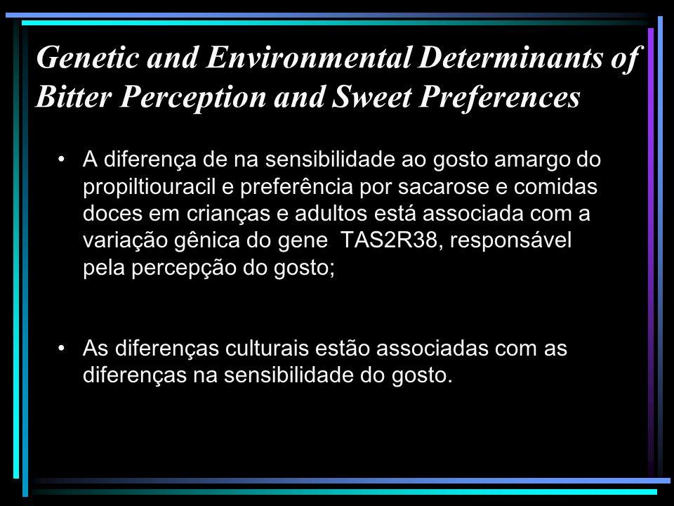 Genetic and Environmental Determinants of Bitter Perception and Sweet Preferences A diferença de na sensibilidade ao gosto amargo do propiltiouracil e