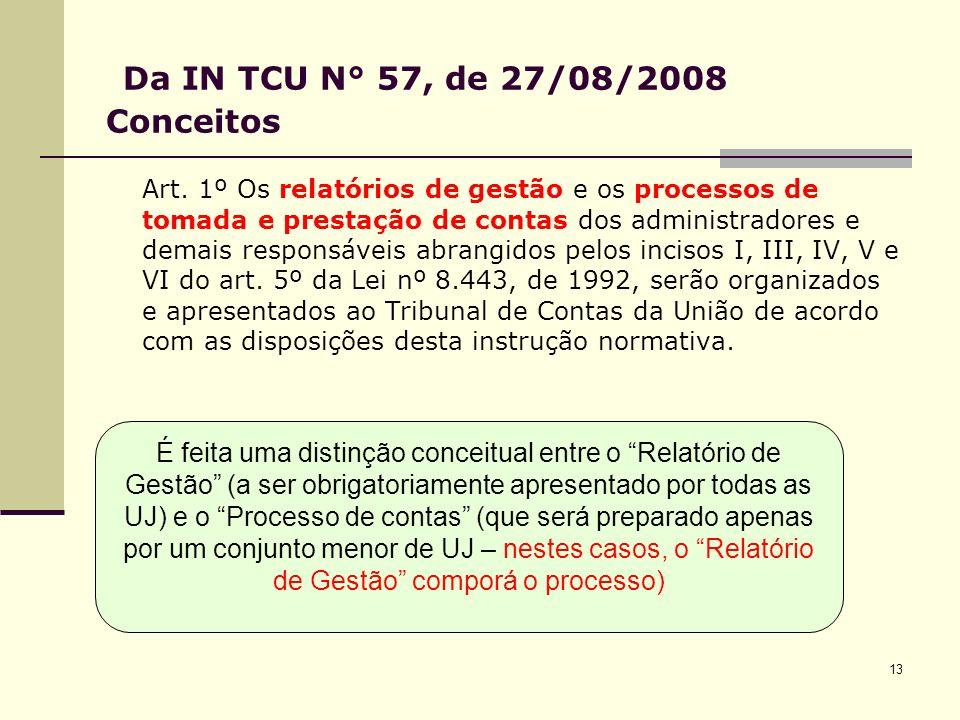13 Da IN TCU N° 57, de 27/08/2008 Conceitos Art.