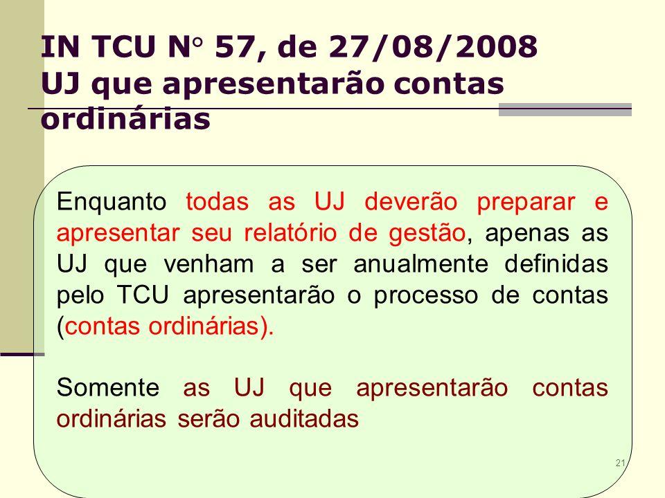 21 IN TCU N° 57, de 27/08/2008 UJ que apresentarão contas ordinárias Enquanto todas as UJ deverão preparar e apresentar seu relatório de gestão, apenas as UJ que venham a ser anualmente definidas pelo TCU apresentarão o processo de contas (contas ordinárias).