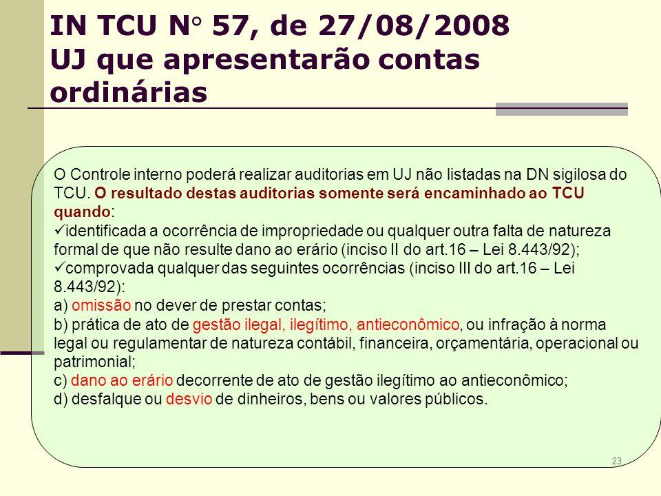 23 IN TCU N° 57, de 27/08/2008 UJ que apresentarão contas ordinárias O Controle interno poderá realizar auditorias em UJ não listadas na DN sigilosa do TCU.