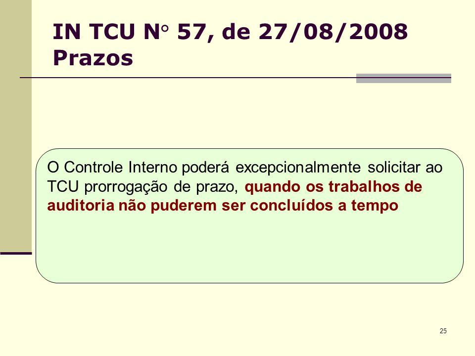 25 IN TCU N° 57, de 27/08/2008 Prazos O Controle Interno poderá excepcionalmente solicitar ao TCU prorrogação de prazo, quando os trabalhos de auditoria não puderem ser concluídos a tempo