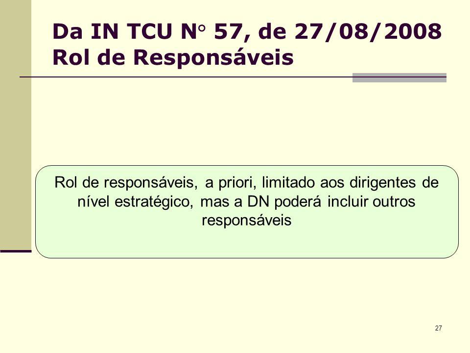 27 Da IN TCU N° 57, de 27/08/2008 Rol de Responsáveis Rol de responsáveis, a priori, limitado aos dirigentes de nível estratégico, mas a DN poderá incluir outros responsáveis