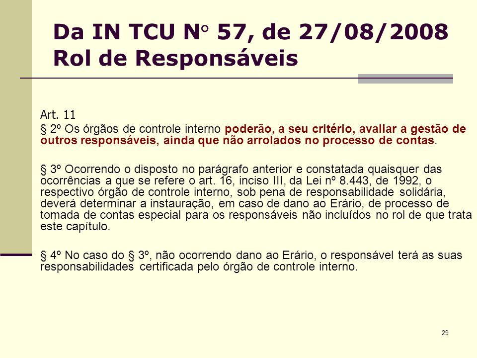 29 Da IN TCU N° 57, de 27/08/2008 Rol de Responsáveis Art. 11 § 2º Os órgãos de controle interno poderão, a seu critério, avaliar a gestão de outros r